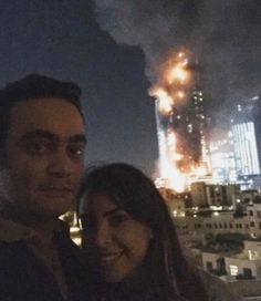 This couple posts a selfie with the burning Dubai hotel in the background; slammed by Twitteratti | OHTECHOH