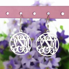 Sterling Silver Circle Monogram Earrings Custom Monogrammed Name Earrings Personalized Name Jewelry Mom Jewelry