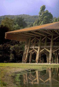 (1) simon velez | Tumblr Bamboo Roof, Bamboo Art, Bamboo House, Bamboo Crafts, Bamboo Garden, Bamboo Architecture, Asian Architecture, Vernacular Architecture, Architecture Design