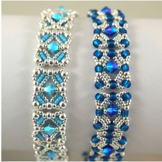 A couple more variations on Deb Moffet-Hall's Aug 2012 bracelet design...aqua and capri blue