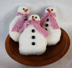 Snowmen Bowl Fillers Winter Decorations by SewNiceandPaint on Etsy, $16.75