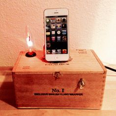 Charging Station Dock Cigar Box Lamp with by ElectricGoodsCompany
