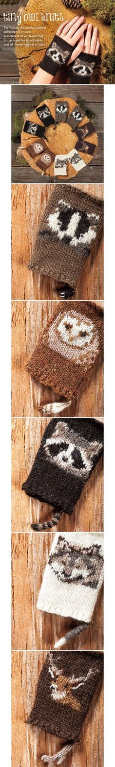 The Woodsy Association: This sweet assortment of wrist-ees from tiny owl knits designer Stephanie Dosen brings together an adorable cast of critters that includes a Badger, Owl, Deer, Wolf, and Racoon (New Things To Try) Knit Mittens, Knitted Gloves, Knitting Charts, Knitting Patterns Free, Yarn Projects, Knitting Projects, Knitting Ideas, Wooly Bully, Fingerless Mitts