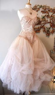 Blush colored bridal gown #Shabby Chic Wedding ... Wedding ideas for brides & bridesmaids, grooms & groomsmen, parents & planners ... https://itunes.apple.com/us/app/the-gold-wedding-planner/id498112599?ls=1=8 … plus how to organise an entire wedding, without overspending ♥ The Gold Wedding Planner iPhone App ♥