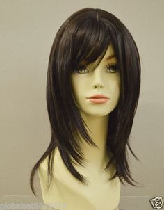 24.99 + 8.99 shipping @ ebay. Lady Sandy Peluca Long Straight Dark Brown Layered salon Wigs hairstyle A01