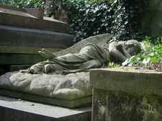 Sleeping angel in Highgate Cemetery in London.