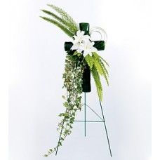 Elegant White Cross - foliage-wrapped and accented with white lilies Heart Wreath, White Lilies, White Crosses, Funeral Flowers, Floral Bouquets, Floral Arrangements, Beautiful Flowers, Floral Design, Church Decorations