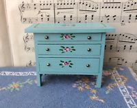 Antique Miniature TynieToy Tynie Toy Dollhouse Hand Painted Blue & Roses Dresser