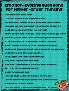 Emotional Questioning for Higher-Order thinking freebie! Also read about questioning strategies that evoke emotion and elicit deep learning, and learn the difference between learning and regurgitation. A Peach for the Teach