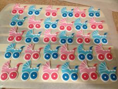 Pram, baby shower cupcake toppers