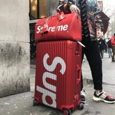 Supreme X Rimowa and Available On Request Only Also Available In Black In Both Sizes Serious Enquires Through DM or Email Rimowa Luggage, Travel Luggage, Travel Bags, Travel Packing, Travel Backpack, Supreme Clothing, Luxury Luggage, Luxury Bags, Rimowa Topas