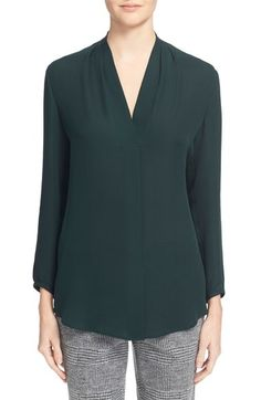 Theory 'Helona' V-Neck Silk Blouse available at #Nordstrom