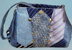 That looks soooo much like a purse I made, I had to look at least twice to… Old Neck Ties, Old Ties, My Bags, Purses And Bags, Tie Crafts, Tie Quilt, Tie Pattern, Recycle Jeans, Art Bag