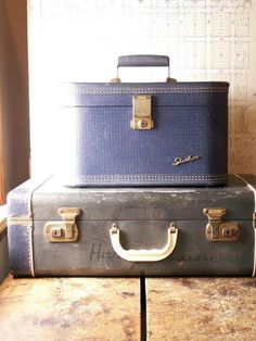 Vintage Blue Suitcase with White Accents - Medium Size - http://oleantravel.com/vintage-blue-suitcase-with-white-accents-medium-size