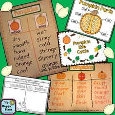 Pumpkins: Science, Literacy, and Math for Kindergarten and First Grade, charts, word wall words, printables $