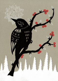 winter berries - cut paper art | Flickr - Photo Sharing!