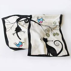Cat and bird sillk scarf hand painted Cool silk shawl Funny