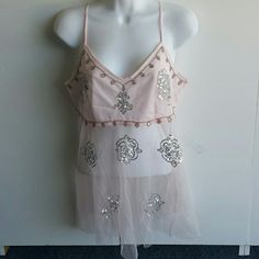 Sexy tank top. S.  M Pink with silver bead and sequin work in front  . 100 % rayon  . Made in INDIA AZIZ Tops Tank Tops