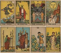 1st edition of the Rider-Waite tarot designed by Pamela Colman Smith and first published by William Rider & Son Limited in December 1909