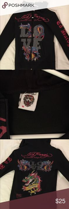 Ed Hardy hoodie Small light weight never worn hoodie. More like a spandex material. Very soft and stretchy.  Petite small Ed Hardy Tops Sweatshirts & Hoodies
