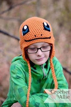 This Pokemon inspired Charmander hat is a great accessory for any Pokemon fan! Great for pretend play, Halloween, cosplay, or just everyday wear. When ordering this hat, you will receive it in the same colors shown unless otherwise specified. Pikachu Hat, Pokemon Hat, Crochet Pokemon, Crochet Crafts, Crochet Projects, Crochet Hats For Boys, Crocheted Hats, Rainbow Crochet, Crochet Cap