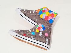 Personalized shoes / Animal painted shoes - Cat shoes / Balloon Illustration - Pets and Balloons theme