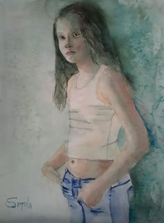 Teenager,  watercolor 50x60