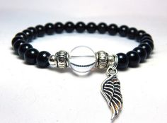 Angel Wing Charm Black Bracelet – BlueStoneRiver