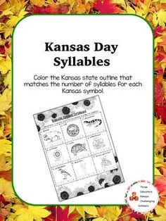 9 of the Kansas state symbols. Color the state with the correct number of syllables per word. Kansas Day, Syllable, Morning Work, 100th Day, Math Centers, Teacher Newsletter, Teacher Pay Teachers, Social Studies, School Ideas