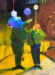 A California painter who creates bold, colorful works of still lifes, interiors and landscapes in watercolor, acrylic, and oil. Haunted Circus, Small Art, Figurative Art, Still Life, Art Dolls, Abstract Art, Projects To Try, Human Figures, Unusual Art