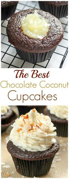 Junk Food The Best Chocolate Coconut Cupcakes - moist chocolate cupcakes filled with coconut cream and topped with coconut buttercream! - Easy to make! These Chocolate Coconut Cupcakes are the best! Brownie Desserts, Just Desserts, Delicious Desserts, Kokos Cupcakes, Yummy Cupcakes, Best Cupcakes, Filled Cupcakes, Cheesecake Cupcakes, Coffee Cupcakes