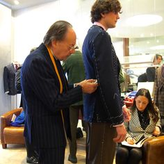 """italian-journey: """" Another image of my fitting by @sartoria-dalcuore at the great @jeanmanuelmoreau. Here with a better view of the DB at its first fitting, as well as some very promising trousers! """""""