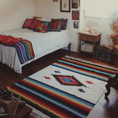 Corina Brown added a photo of their purchase Western Bedroom Decor, Western Rooms, Mexican Bedroom Decor, Mexican Style Bedrooms, Cowgirl Bedroom, Mexican Style Decor, Mexican Rug, Boho Wedding Gown, Wedding Beach