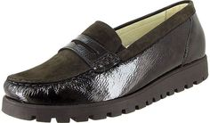 New Womens WALDLAUFER Leather Penny Loafers Mocs 10 BLACK Shoes Slip On