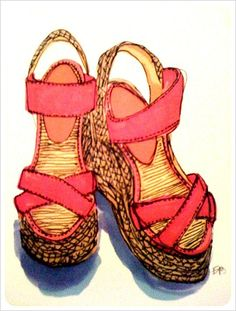 I'd like drawings like this of all my shoes...