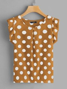To find out about the Ruffle Armhole Polka-dot Fold Pleat Top at SHEIN, part of our latest Blouses ready to shop online today!