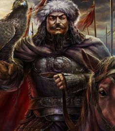 The painting originally depicts Kublai Khan, regardless, I couldnt stand but to cite this guy as Arslan Yabgu, the similarity is staggering