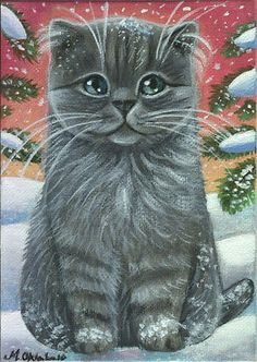 Persian Cat - Winter Xmas Painting by Marta