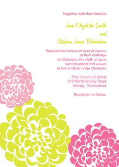 Pink and Lime Chrysanthemums Free Wedding Invitation