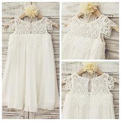 Sheath Knee-length Flower Girl Dress - Chiffon / Lace Short Sleeve – USD $ 49.99
