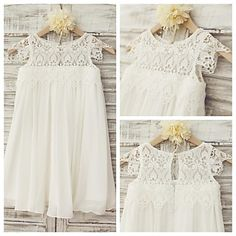 Sheath+Knee-length+Flower+Girl+Dress+-+Chiffon+/+Lace+Short+Sleeve+–+GBP+£+34.99