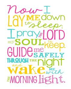Now I Lay Me Down to Sleep Prayer – Girl – Bedroom – Newborn Girl – Magenta Pink, Yellow, Aqua and Lime Green - Christian Art - Baptism Gift -