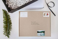 chic return address label, pretty stamps and an extra little branded sticker.
