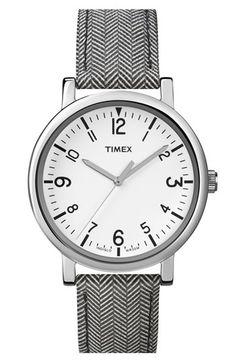 Timex® Round Tweed Print Leather Strap Watch, 38mm | Nordstrom