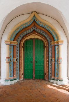 Main door of the Cathedral of the Intercession in the Pokrovsky Monastyr (the Convent of the Intercession) Suzdal, Russia.