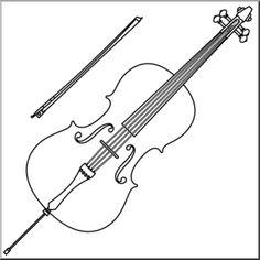 Clip Art: Cello B&W I abcteach.com - large image