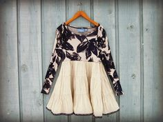 Blue Floral Bohemian Tunic Top// Medium Large by emmevielle, $63.00