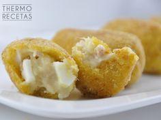 croquetas de atún Onion Rings, Great Recipes, Ethnic Recipes, Pizza, Foods, Gastronomia, Snacks, Egg Wash, Food Recipes
