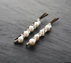 Bridal Bobby Pins White Pearl and Crystal by LoveandCherish