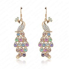 BMALL Long Peacock Earrings Real 18K Gold Plated SWA Element Austrian Crystal Earrings Drops * You can get additional details at the image link.-It is an affiliate link to Amazon. #WeddingEarrings